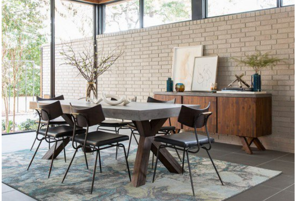 "Jagger 78"" Rectangular Wood and Concrete Dining Table"