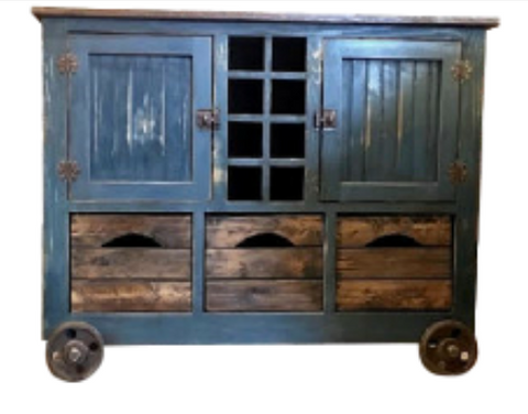 Custom Industrial Rustic Cabinet with Wine rack & lots of Storage