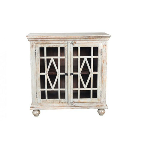 Bendek 2 Glass Door Cabinet In White Antique Finish - Rustic Edge