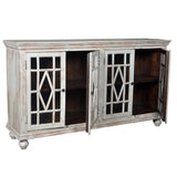Bendek 4 Glass Door Buffet In White Antique Finish - Rustic Edge