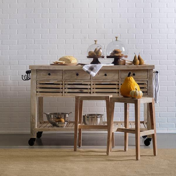 Pine Kitchen Island: Earvin Natural Pine Kitchen Island On Casters With Pull