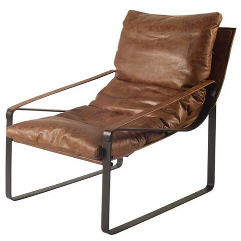 Brayton Leather Chair - Brown - Rustic Edge
