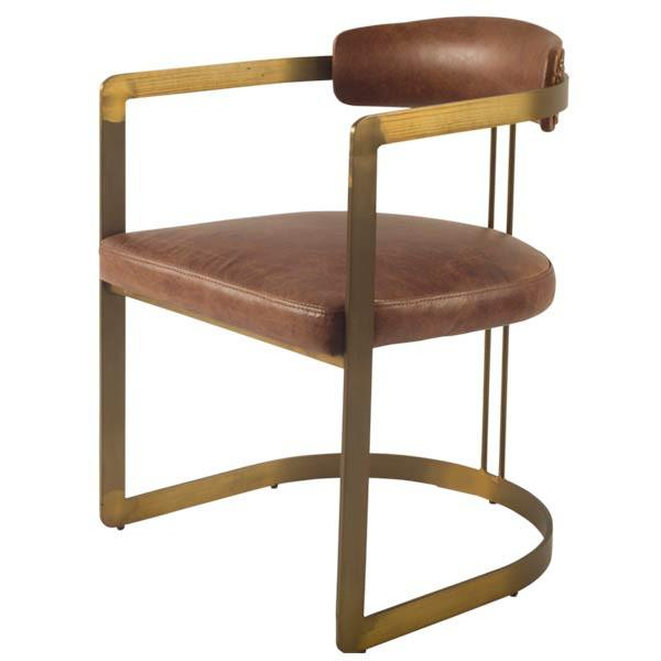 Allister Leather Chair - Brown and Antique Brass - Rustic Edge