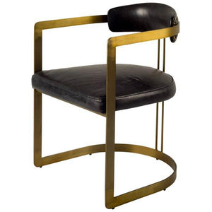 Allister Black Leather Chair with Antique Brass Frame - Rustic Edge