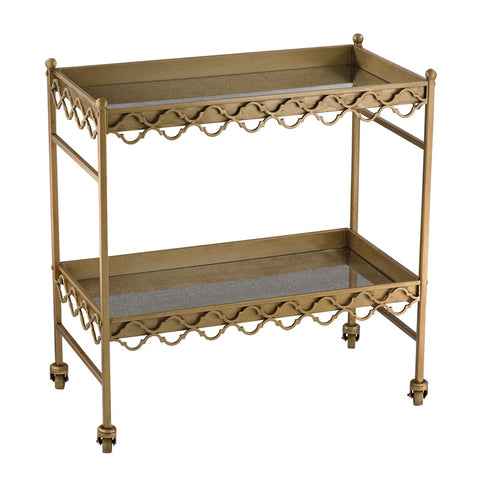 Sterling Industries 51-008 Rectangular Quatrefoil Bar Cart In Gold