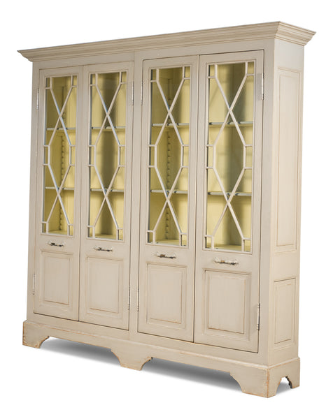 "Ruth-Elm Traditional Style 4 Door 96"" Bookcase - Beige"