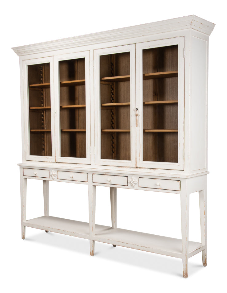 "Eagle-Vay Solid Pine Mid-Century 88"" Display Hutch - White"