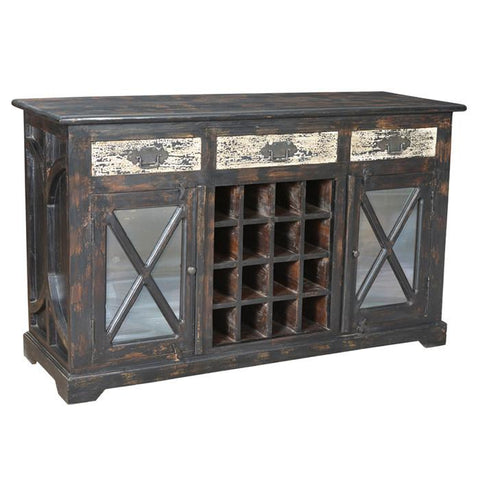 Kasper 3 Drawer, 2 Antique Mirror Door Wine Buffet