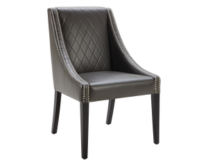 WINSOR DINING CHAIR GREY LEATHER