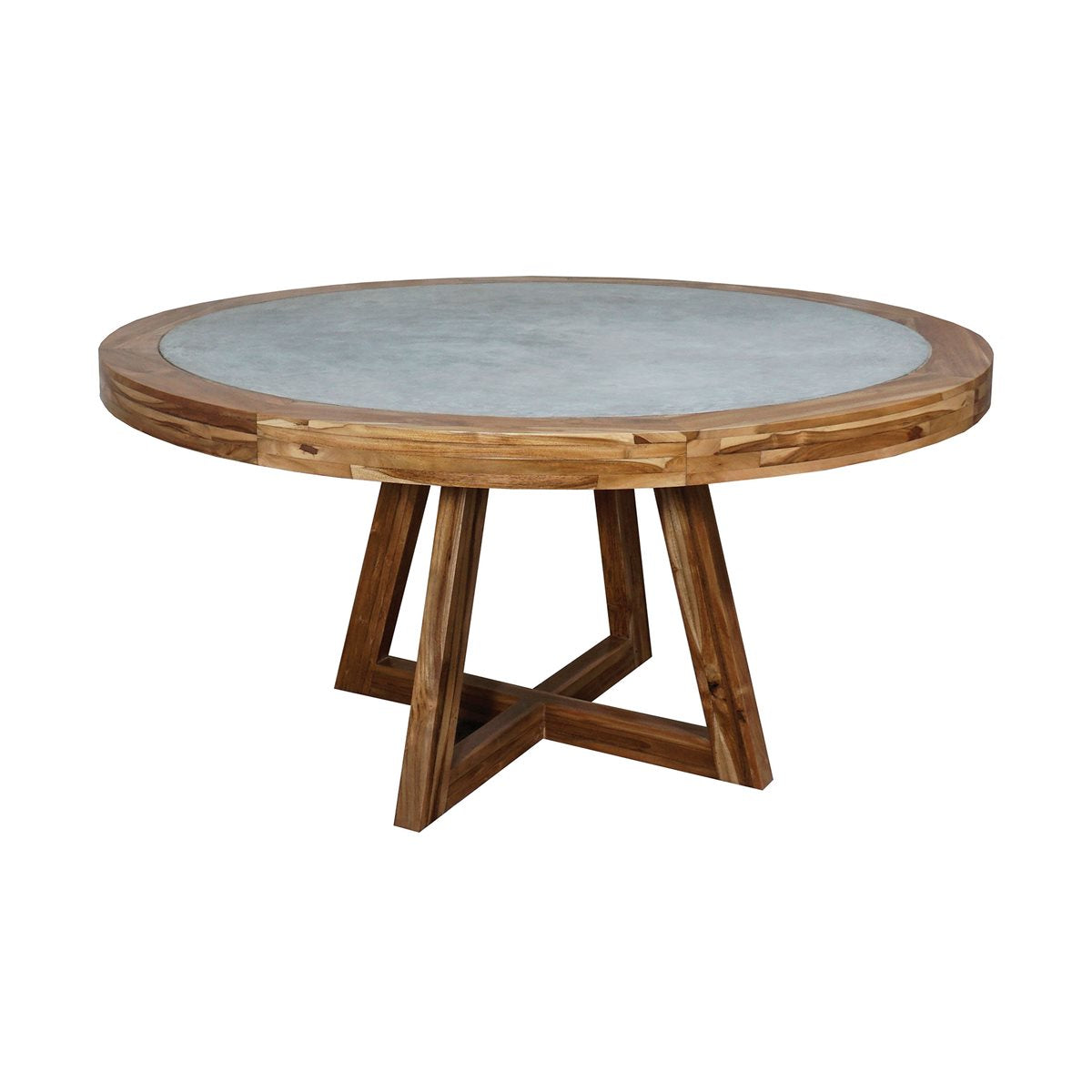 "Dracho 60"" Round Dining Table - Concrete with Teak Wood Base"