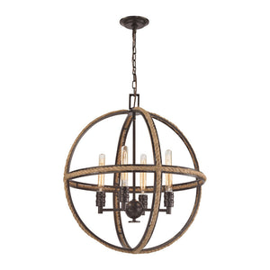 Elk Group Natural Rope 4 or 6 Light Chandelier In Oil Rubbed Bronze