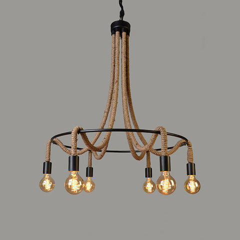 Vanessa 6 Light Iron and Jute Chandelier