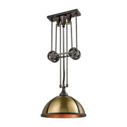 Elk Group Torque 3 Light Pulldown Chandelier In Vintage Rust And Aged Brass 65153/3