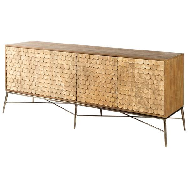 This one of a kind sideboard will dazzle with 4 doors finished, with scales that shine. The doors offer push button opening with a fixed shelf inside to provide plenty of storage no matter what the need.  Size: 72 x 18 x 30