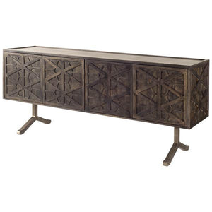 The Tavis is like no other. Positioned on 2 nickel plated iron feet, this 4 door sideboard has intricately crafted geometric door designs with push to open doors with no visible hardware. Inside, there is plenty of storage space with lots of flexibility with the removable shelves. The dark finish on the Indian harwood will last for years to come.  Size: 73 x 19 x 33