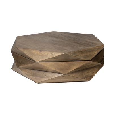 Ametto Hexagon Wood Coffee Table - Rustic Edge