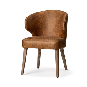 Silen Wingback Dining Chair - Brown Faux Leather