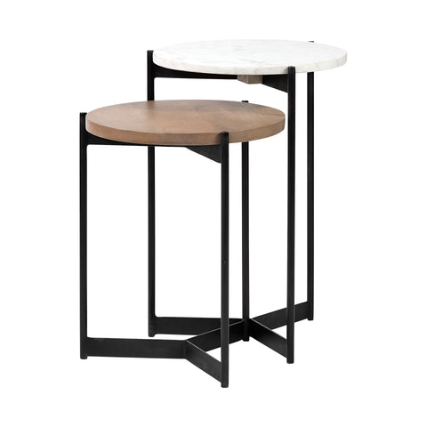 Inklar Wood and Marble Nesting Tables