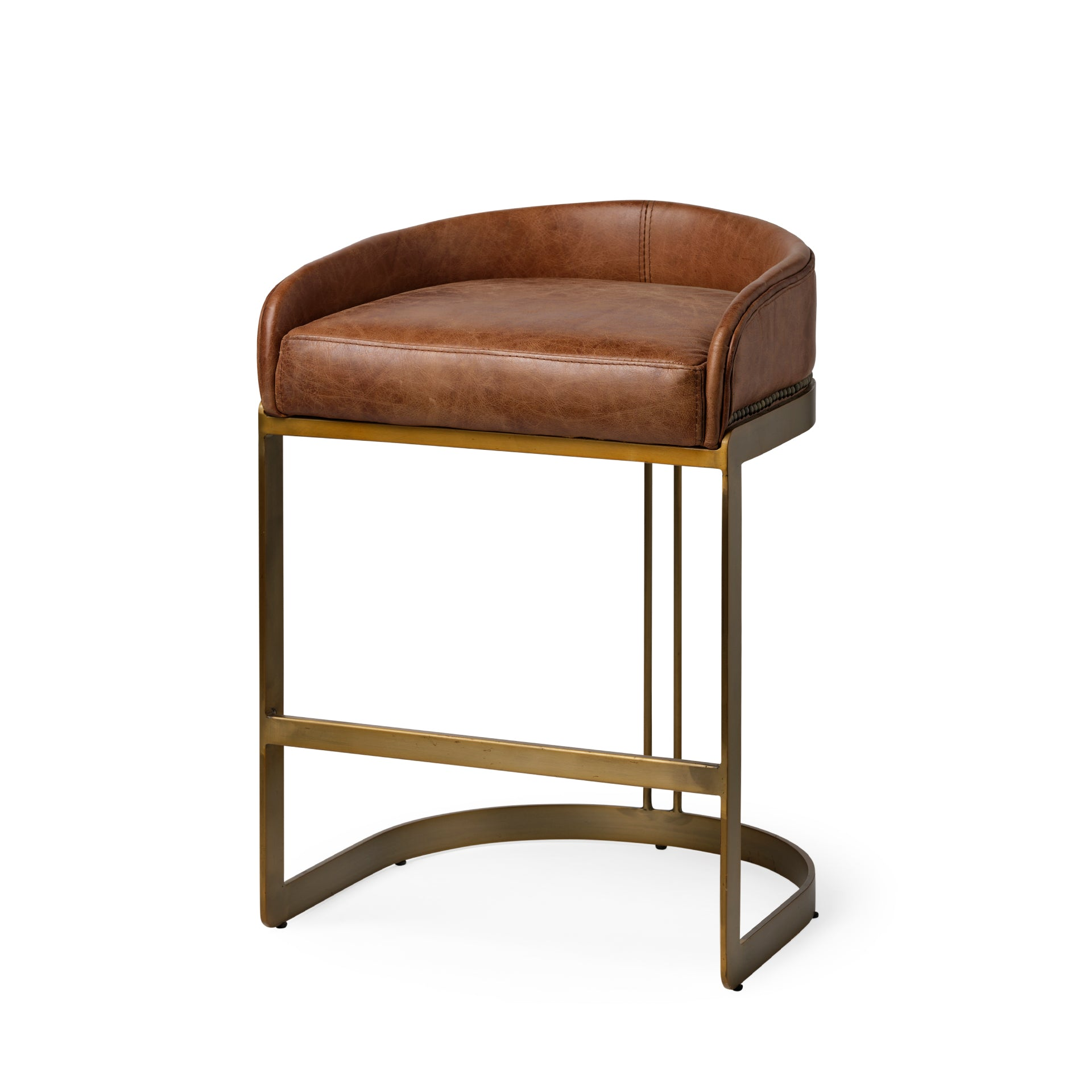 Carwen Club-Style Counter Stool - Brown Leather