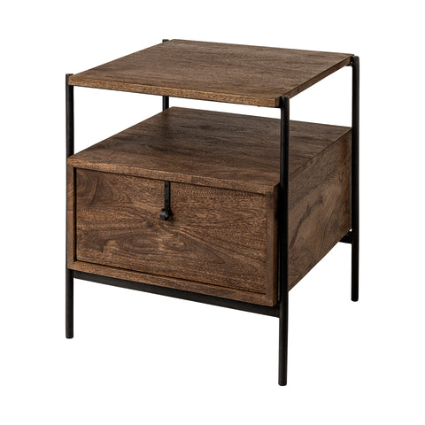 Glennard Contemporary Industrial Accent Table