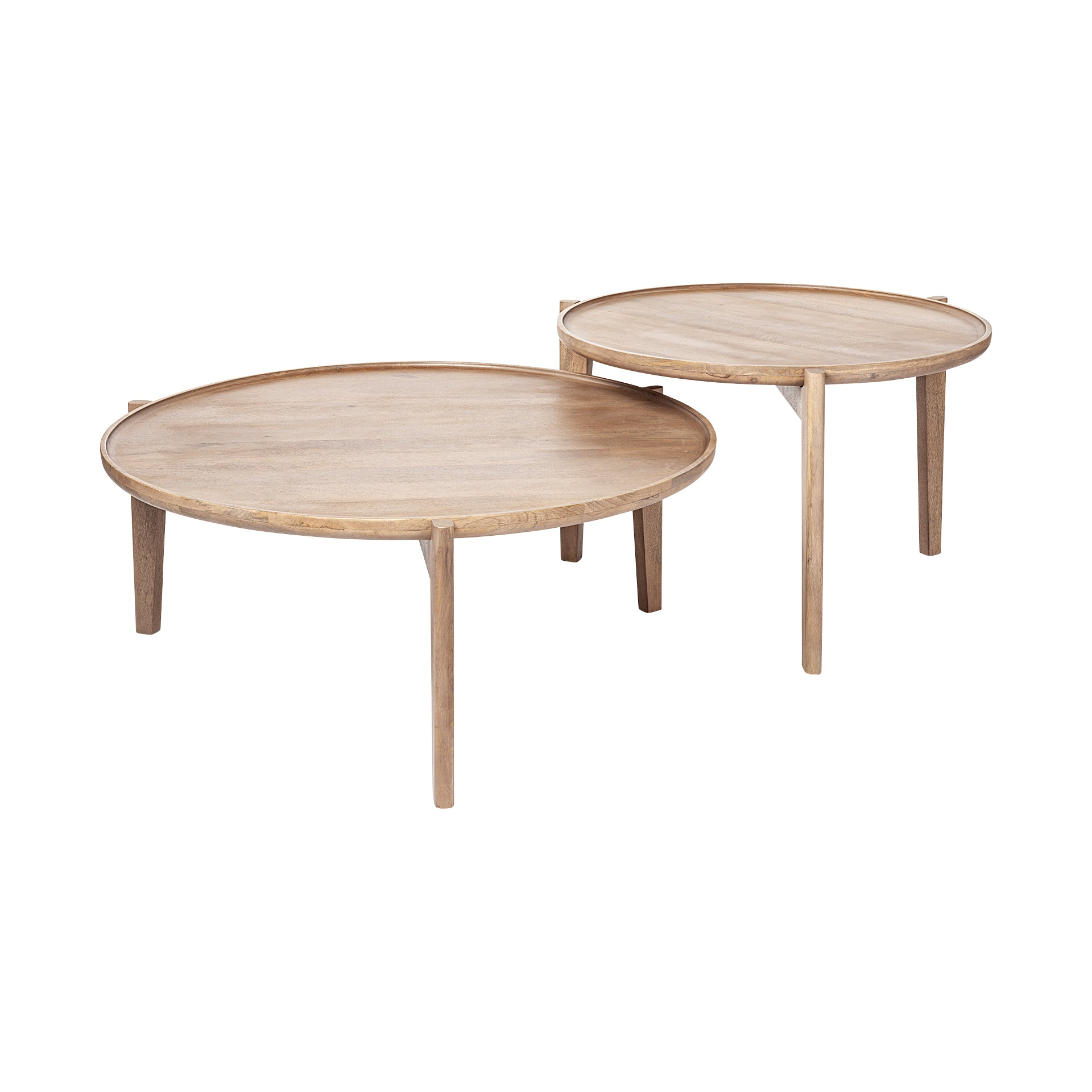 Reveal Round Mid Century Nesting Coffee Tables - Set of 2