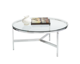 Brice Round Polished Steel and Glass Coffee table - Rustic Edge