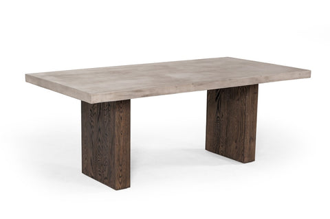 Emire Concrete & Acacia Dining Table - Rustic Edge