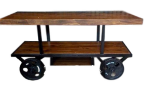 Custom Built Rustic Industrial Steampunk Media Cart w/cast iron wheels