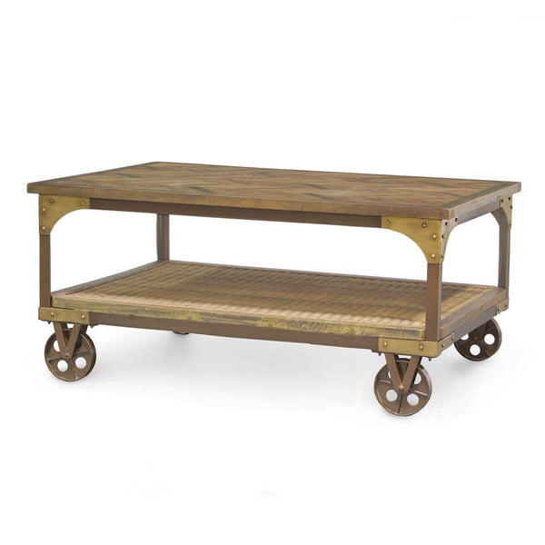 Camden Metal and Wood frame Coffee Table with wheels P85461 - Rustic Edge