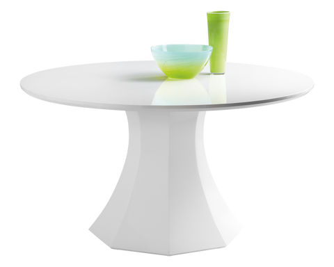 Caster High Gloss White Round Dining Table - Rustic Edge