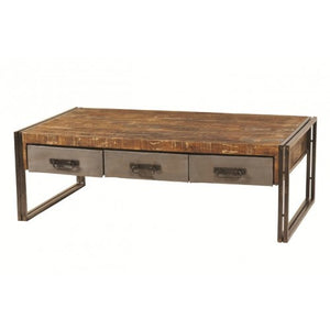 Abran Industrial Reclaimed Wood & Metal 3 Drawer Coffee Table - Rustic Edge
