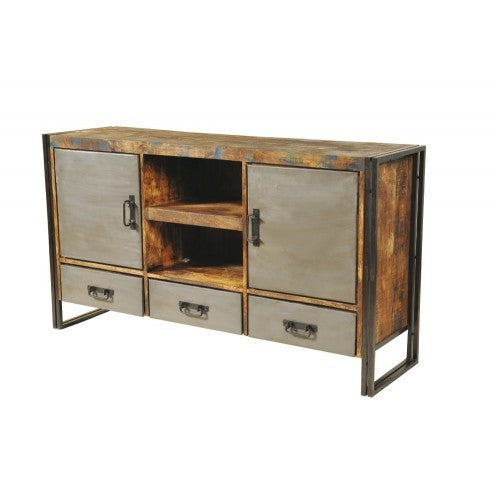 Abran Industrial Reclaimed Wood & Metal 3 Drawers 2 Door Sideboard/Buffet - Rustic Edge