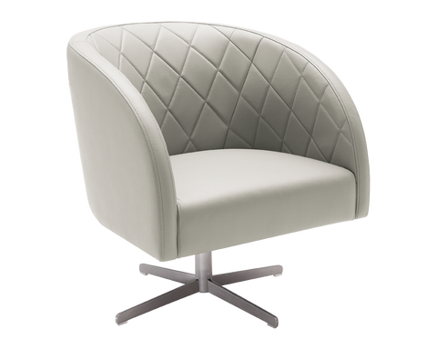 Beldane Swivel Arm Chair - Grey Leather - Rustic Edge