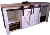 Custom Sliding Barn Door White Buffet/Sideboard or Media Cabinet