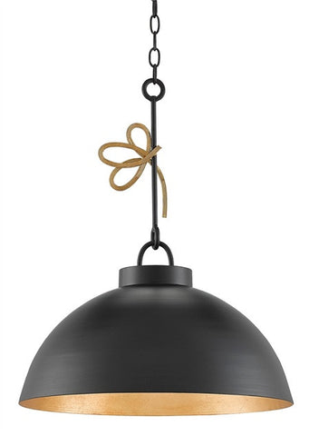 Hannari Pendant Satin Black Dome with Gold Accent 9000-0151