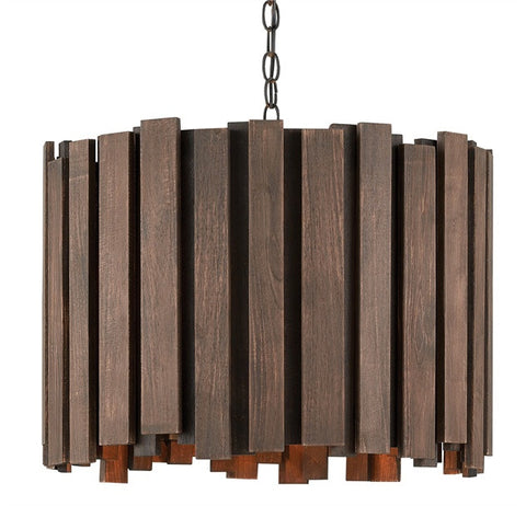 Kagurazaka Chandelier Burnt Wood Slats over Wrought Iron 9000-0156