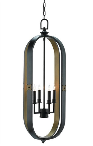 Huntsman Lantern Black & Brass Modern Oblong Design 9000-0168