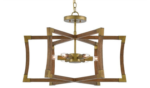 Bastian Wood Semi Flush Chandelier- Currey & Co 9000-0221 - Rustic Edge