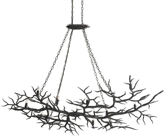 Iron Branches Rainforest Chandelier 14 Lights - Currey & Co 9007
