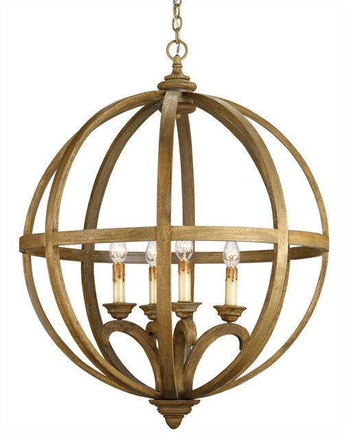 Alex Orb Curved Wood Slats Chandelier- Currey & Co 9015 - Rustic Edge