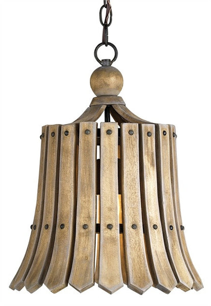 Fruiter Wood Slat Pendant Light 9088 - Currey & Co.