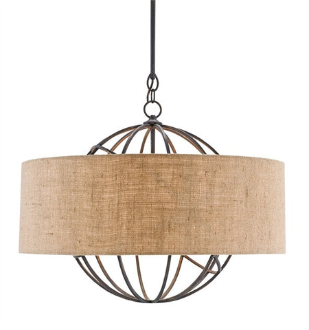 Millcroft Chandelier Natural Burlap with Rustic Globe 9270