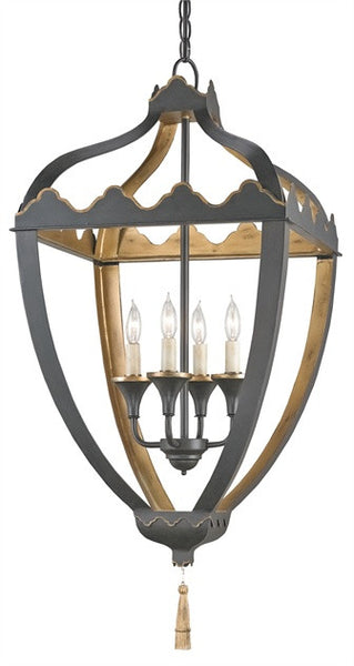 Gold and Black Wrought Iron Beaumont Lantern 9341 - Currey & Co.