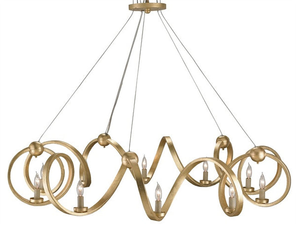 Ringmaster Gold Leaf Chandelier- Currey & Co 9490