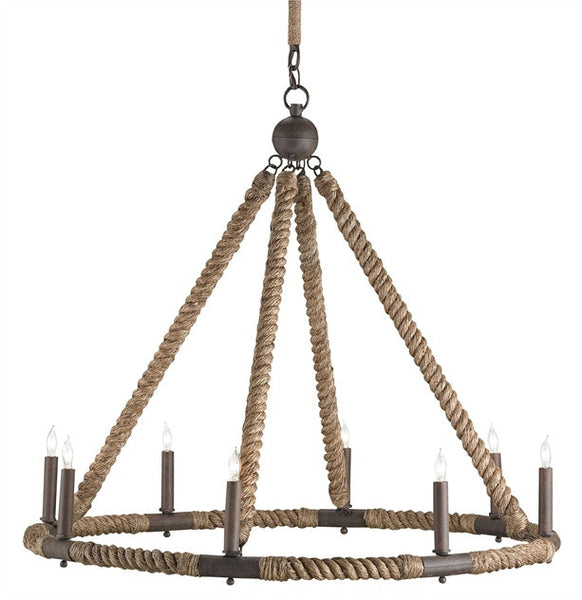 Bowline Chandelier Nautical Rope with Wrought Iron Frame 9536