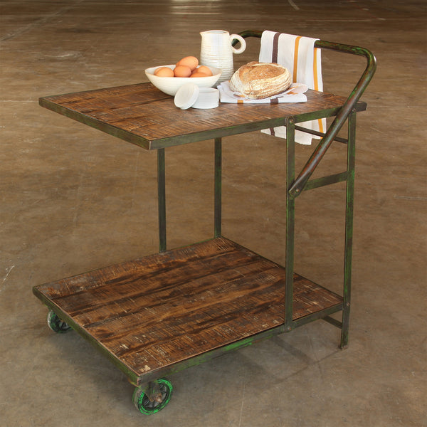 Ojai Iron Garden Trolley - Antique Green with Distressed Wood 9544-3
