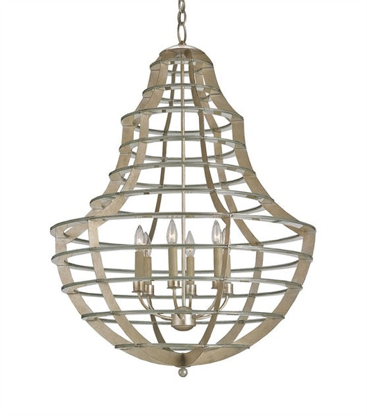 Everest Chandelier Sleek Wrought Iron Bands Silver Leaf Contemporary 9619