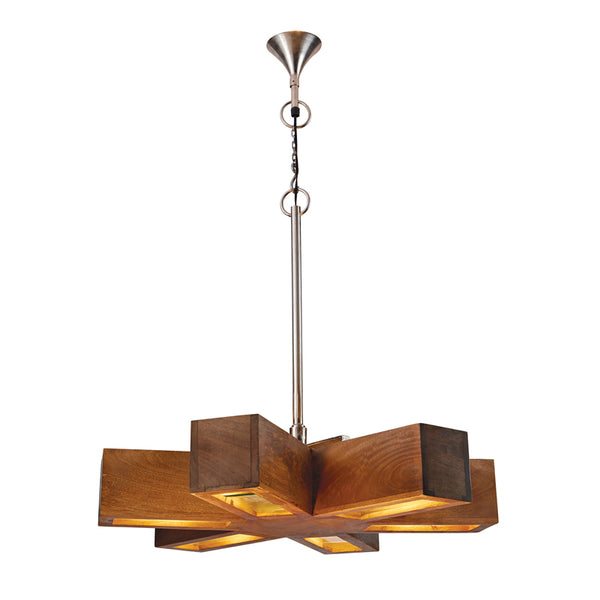 Dimond Home Retro 6 Spoke Wood Pendant Light - 985-023