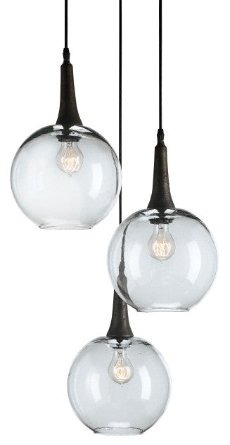 Beckett Trio 3 Globe Glass Pendant- Currey & Co 9969 - Rustic Edge