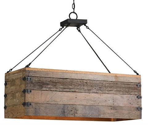 Reclaimed Wood Farmhouse Billycart Chandelier 9994 - Currey & Co.